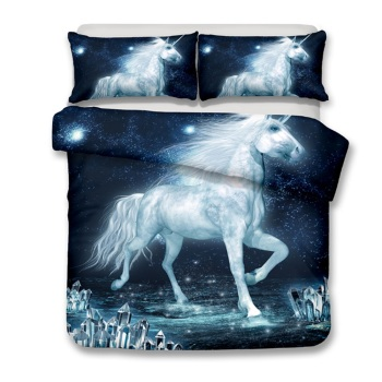 3D Animals Unicorn Printed Duvet Cover Set Teen Magical Horse Rose 3 Piece Rose Pink Bedding Unicorn Lovers Bedding Duvet