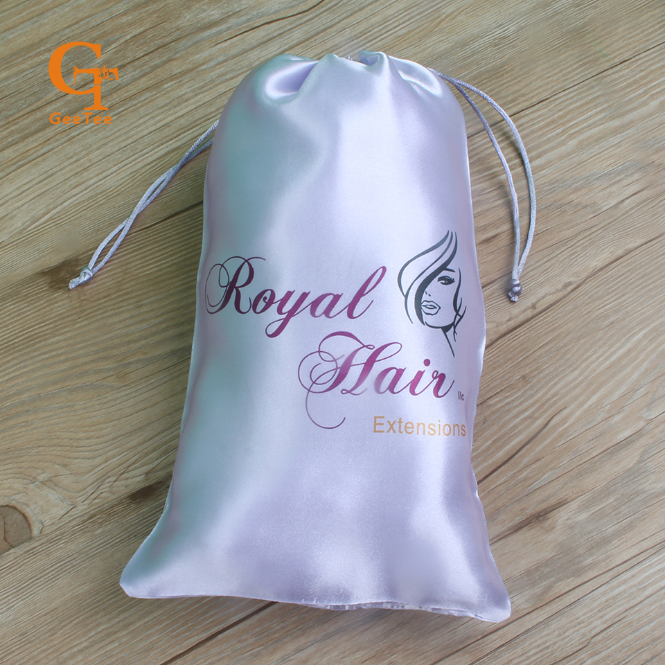 custom brand logo woven hair extensions packaging satin silk luxuary bags ,personality shop name hair bundles wigs packing bags ...