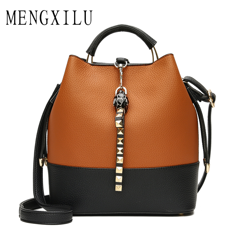 MENGXILU Women Brand Rivet Crossbody Bag Fashion Women's Bag Handbag Ladies Pu Leather Famous Designer Brand Bags Panelled Tote 2018 new women hangbag brand famous designer pu leather women handbag bag ladies satchel messenger tote bags travel luggage