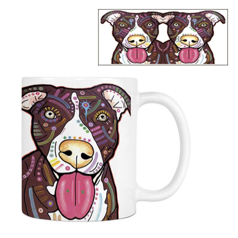 Mode Pitbull Kaffeetasse Lustiger Hund Weiß Keramik Kreative Tier - Küche, Essen und Bar - Foto 3