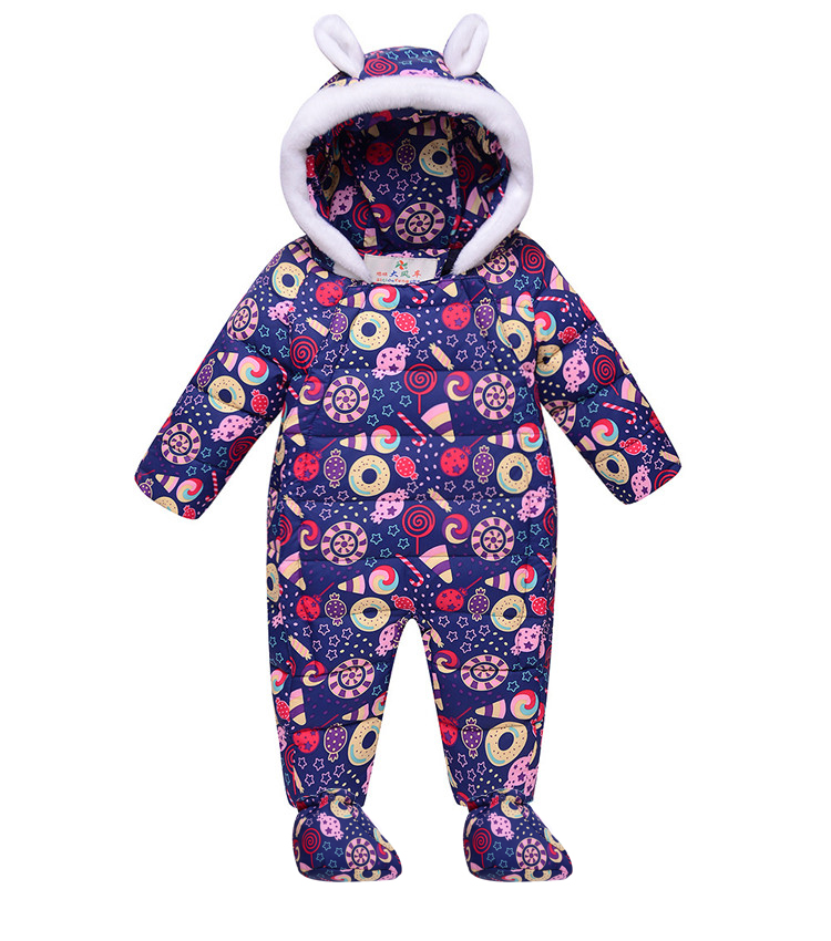 Winter Baby Flower Rompers Infant Clothing Thick Duck Down Girls Jumpsuit Snowsuit for Girl Outwear Toddler Overall Bebe Clothes 2017 baby knitted rompers girls jumpsuit roupas de bebe wool baby romper overalls infant toddler clothes girl clothing 12m 5y