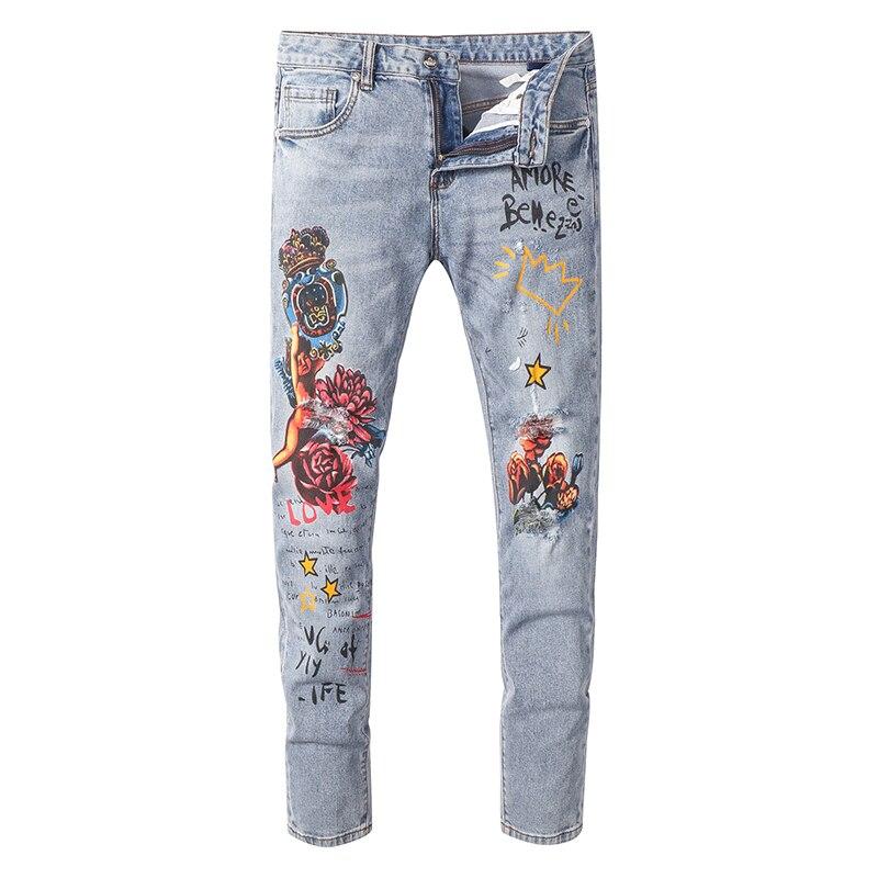 Sokotoo Men's angel flower printed   jeans   Slim fit stretch denim pants