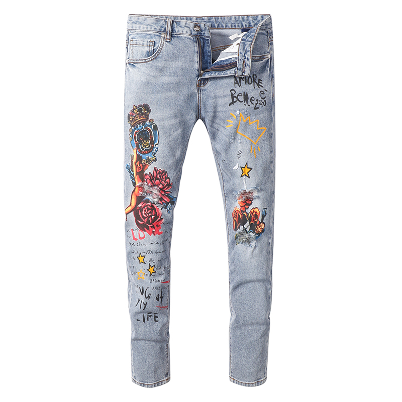 Sokotoo Men's Angel Flower Printed Jeans Slim Fit Stretch Denim Pants