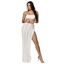Women Summer Beach Side High Split Maix Skirt Hollow Out Knitted Irregular Maxi Saia Knitting Sexy Chic Party Outfits