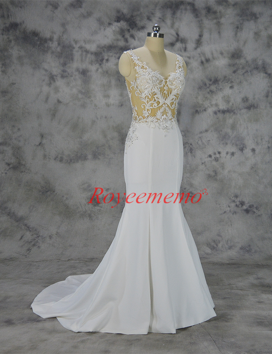 mermaid lace wedding dress sexy transparent top full beading wedding gown  custom made factory wholesale price