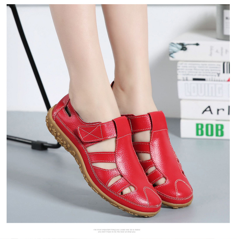Women Gladiator Sandals Split Leather Summer Shoes Woman Hollow out Flat Sandals Ladies Casual Soft bottom Female Beach Sandal