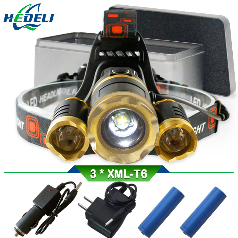 White Yellow Light 3T6 Cree Xml T6 Led Headlamp Forehead Headlight Head Light Rechargeable Flashlight Head Torch Waterproof