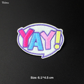 Pink Lovely YAY! Hot Iron on Patch for Clothing Embroidered Creative Badges for Kids Jacket Jean Stickers Patchwork image