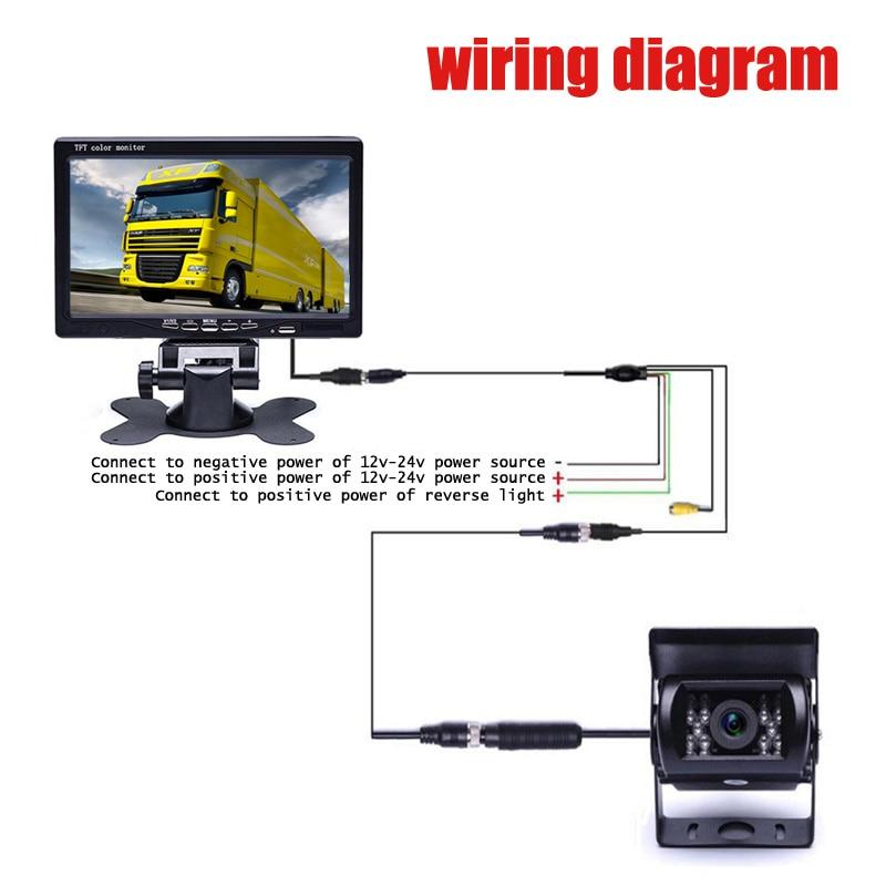 4 Pin 7 Inch Tft Lcd Color Monitor 12v 24v Car Truck Bus Parking Reverse 18 Leds Rear View Camera Kit Car Monitors Aliexpress