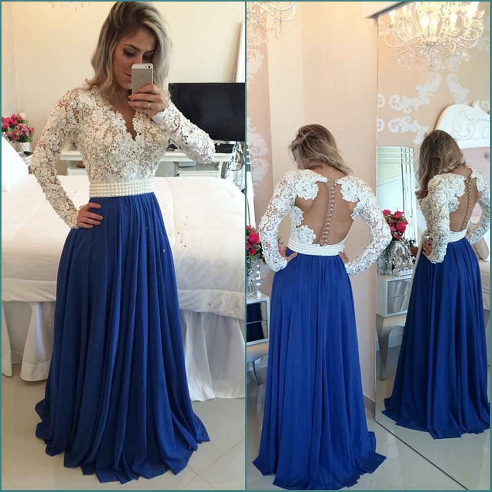 Popular Plus Size Royal Blue Prom Dresses Long Sleeves-Buy Cheap ...