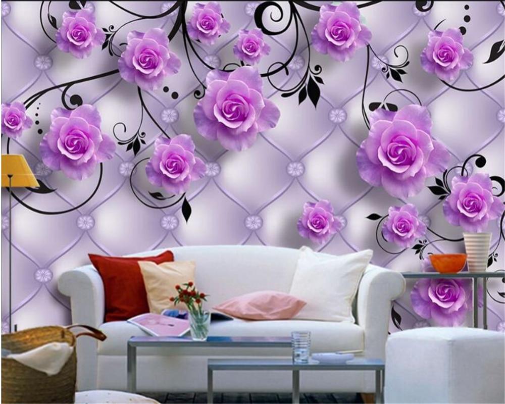 beibehang Custom fashion wall paper blue rose cubes combination elegant fashion background wall papel de parede 3d wallpaper