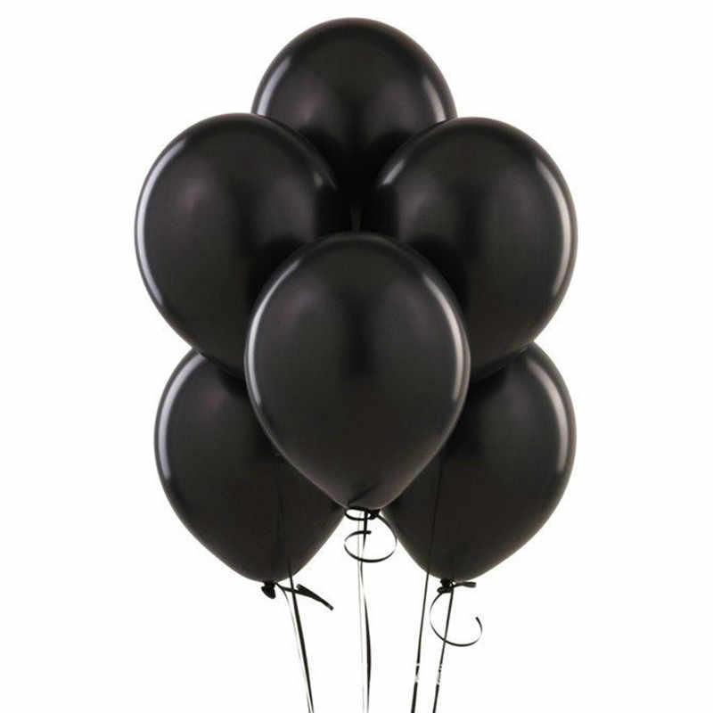 XXPWJ livraison gratuite 12 pouces 10 pcs/lots ronde ballons en latex noir fête d'anniversaire ballon de mariage décoration jouets Z-048