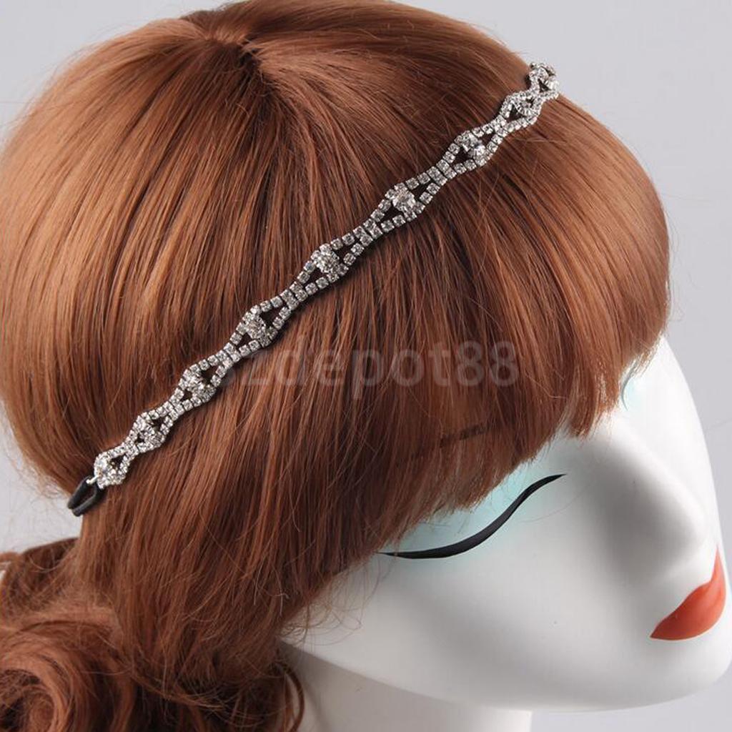 Vintage Crystal Elastic Headband Headpiece Bride Girl Prom Hair Accessories-in Women's Hair ...