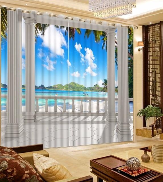 European Roman Curtains Photo 3D Blackout Beach Landscape For Living Room D2 Brand Drapes