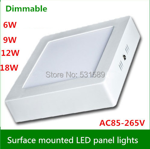 Warm/Cool White Optional 6W 12W 18W AC85 265V Square Dimmable CeilingSurface Mounted LED Panel Light