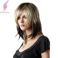 Yiyaobess 14inch Synthetic Mix Blonde Brown Ombre Wig With Bangs Straight Medium Hair Party Wigs For Women