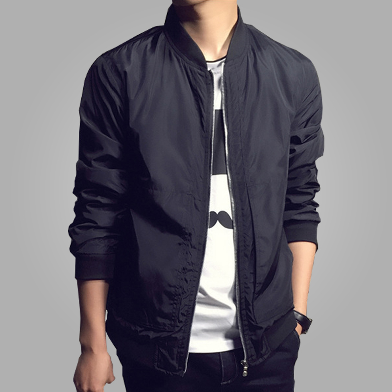 New Arrival Spring Menu0026#39;s Jackets Solid Fashion Coats Male Casual Slim Stand Collar Bomber Jacket ...