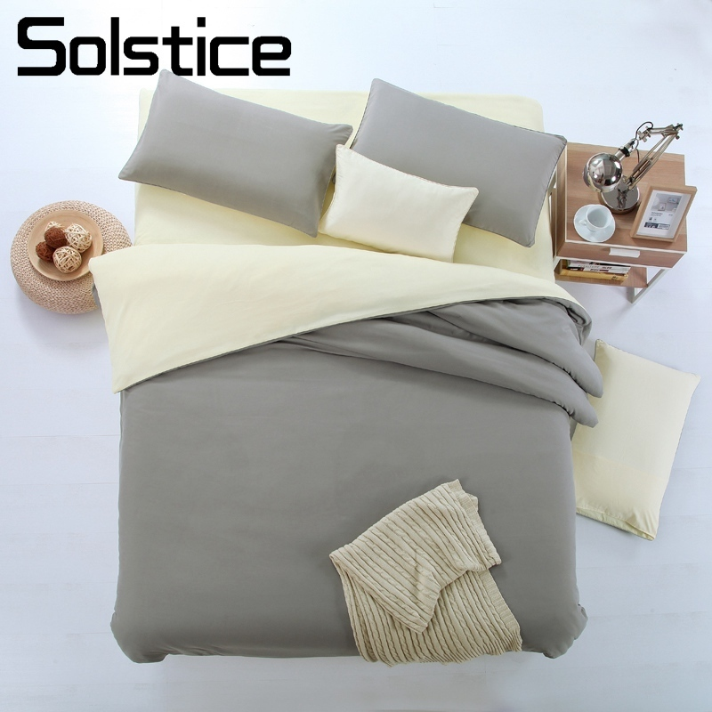 Solstice Home Textile Flat Sheet Pillowcase Duvet Cover Kits Plain Solid Beige Gray Bedding Suit Woman Girl Teen Adult Bed Linen