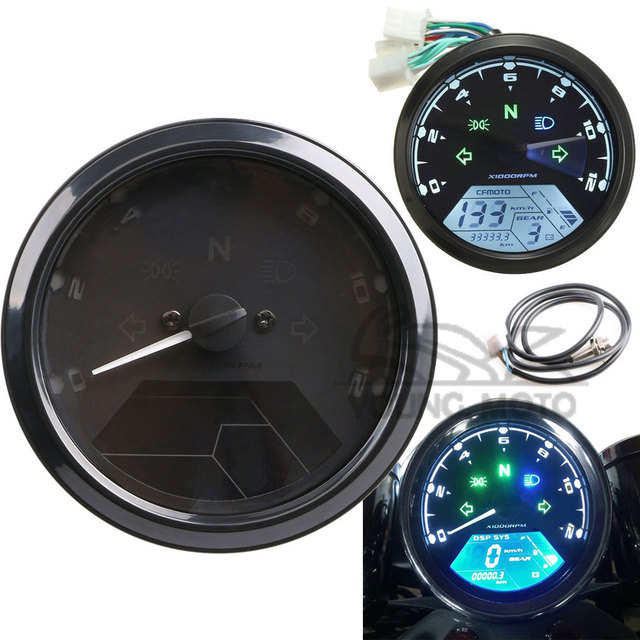 Universal 12000rpm Kmh  Mph Lcd Display Digital Speedometer