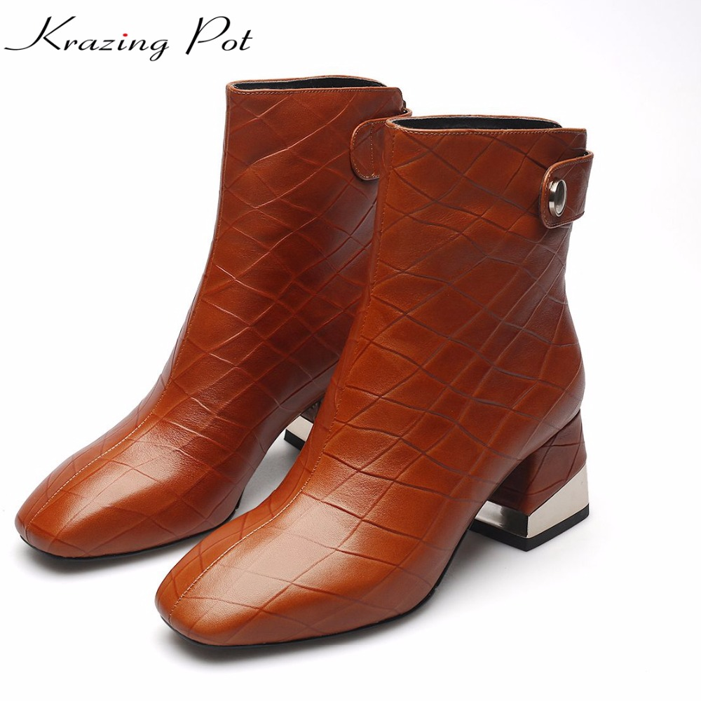 Krazing Pot new rivets cow leather metal decorations square toe high heels plus size handmade women office lady ankle boots L6f5 krazing pot 2018 new arrival genuine leather square toe high heels fashion winter shoes handmade zipper women mid calf boots l30