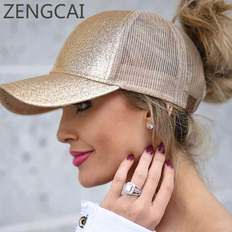 2018 CC Glitter Ponytail Baseball Cap Women Snapback Hat Summer Messy Bun Mesh Hats Casual Adjustable Sport Caps Drop Shipping 2018 cc denim ponytail baseball cap snapback dad hat women summer mesh trucker hats messy bun sequin shine hip hop caps casual