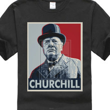 Custom T Shirts Cheap Short Sleeve Top Winston Churchill plus size t shirt T Shirt Crew Neck T Shirt For Men(China)