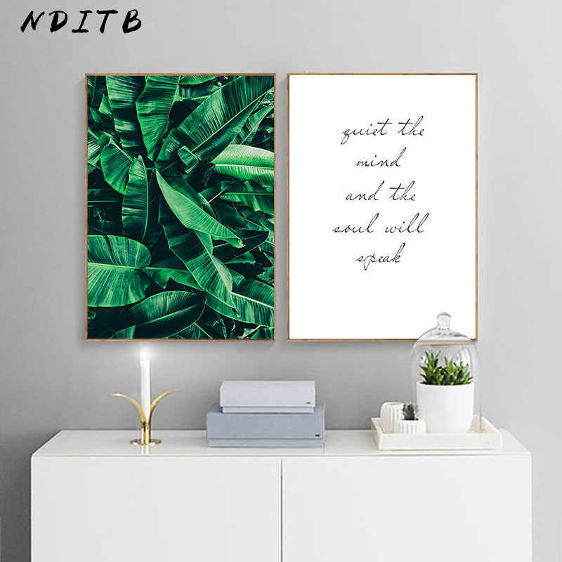 Green Plant Banana Leaf Canvas Poster Quotes Print Scandinavian Style Painting Decorative Picture Modern Home Nordic Decoration
