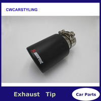 8 size carbon fiber trimming stainless steel universal car exhaust pipe tip 63mm 101mm Akrapovic car exhaust system for bmw vw