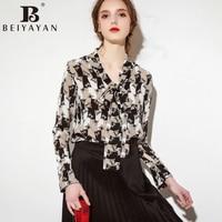 BEIYAYAN Vetement Femme 2017 Beautiful Fashion Long Sleeve Casual Print Tops Silk Women S Summer Blouses