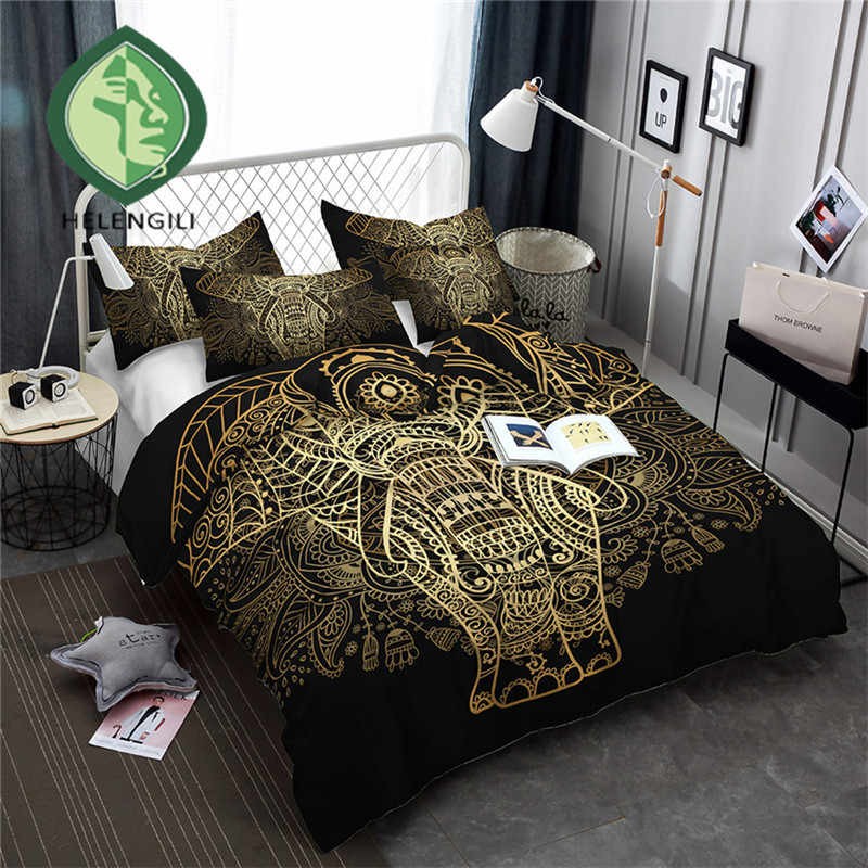 HELENGILI 3D Bedding Set Golden Elephant Print Duvet cover set lifelike bedclothes with pillowcase bed set home Textiles #TJ-5