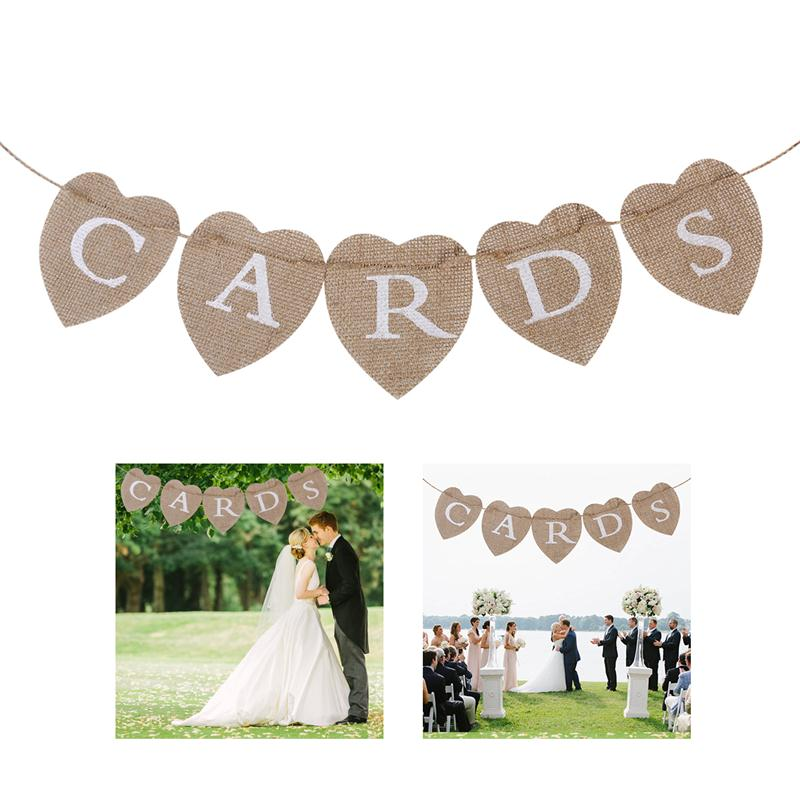 Cards Sign 5 Flags Bunting Banner Heart Rustic Burlap For Wedding Party Decor