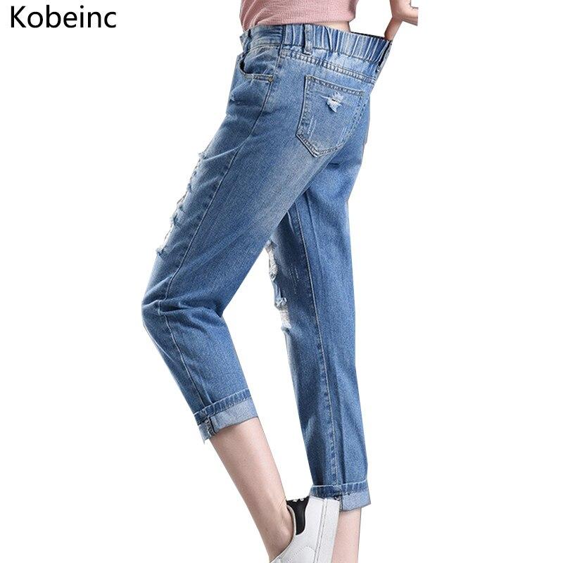 Kobeinc Design Elastic Waist Denim Pants for Women Boyfriend Ripped Jeans Female Plus Size Autumn Trousers 2017 Holes Vaqueros plus size pants the spring new jeans pants suspenders ladies denim trousers elastic braces bib overalls for women dungarees