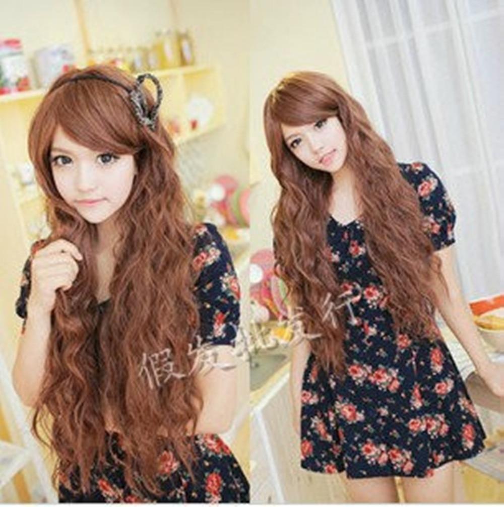 Lolita Harajuku Rhapsody Brown Long Curly Wave Hair Cosplay Wigs