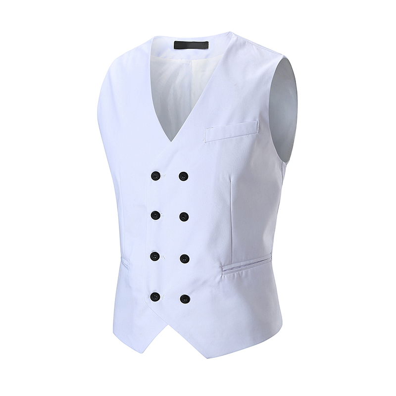 Vests Men 2018 Spring/Autumn New Fashion V-Neck Double Breasted Suit Vest Male Black Gray White Vests & Waistcoats
