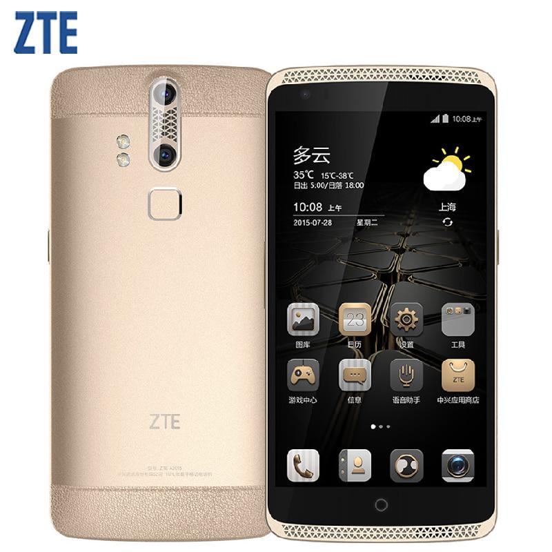 Original ZTE Axon A2015 Mobile Phone 5.5 inch Screen RAM 4GB ROM 128GB Snapdragon Octa Core 3000mAh Dual Back Cameras Smartphone