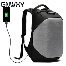 GNWXY Men Simple Business Travel Backpack College Students School Bag 15.6 Inch Laptop Backpack External USB Charging Waterproof 15 inch unisex water resistant slim business laptop tablet backpack school college laptop bag for teens girls boys students