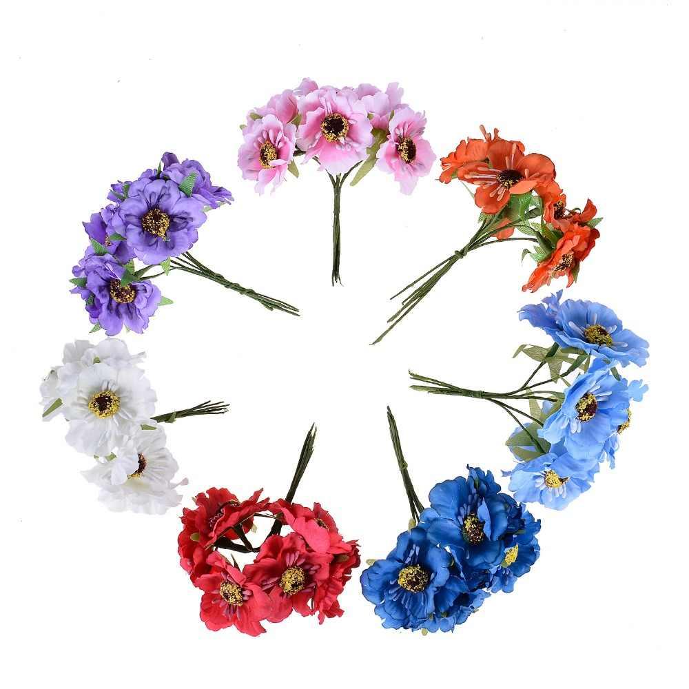 6 Pcs 3.5 Cm Mini Sutra Cherry Buatan Poppy Bouquet DIY Buatan Tangan Tato Karangan Bunga Scrapbook Dekorasi Pernikahan Kerajinan Palsu Bunga