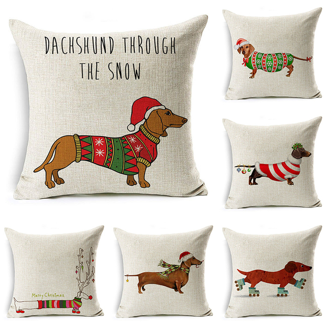 DecorUhome Di Natale di Cotone di Tela Copertura Del Cuscino Del Fumetto Cani Ba