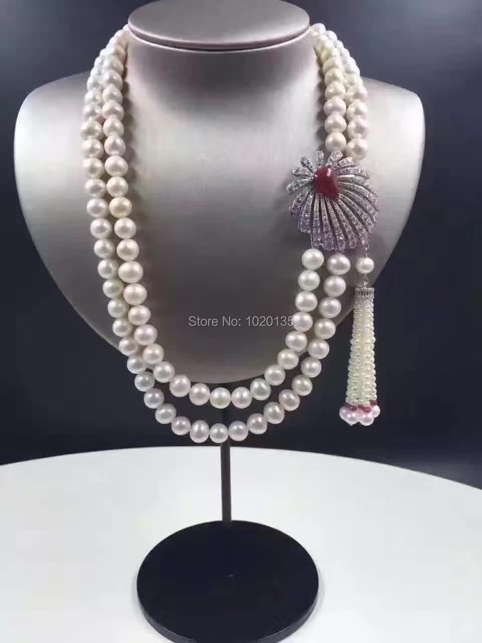 2rows 8-9mm near round white freshwater pearl necklace  amazing gift hot FPPJ red/green/blue tassel