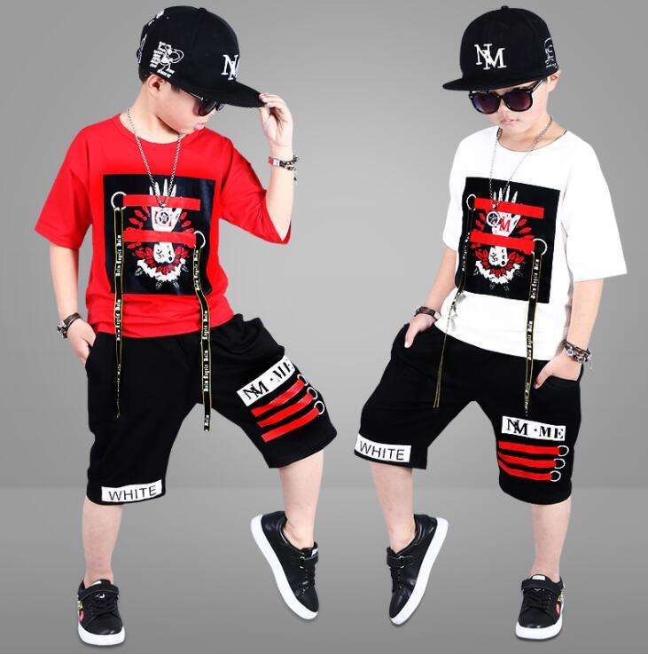 2 peças terno crianças meninos adolescentes conjuntos de roupas hip-hop dança esportes treino algodão camiseta + shorts meninos roupas verão