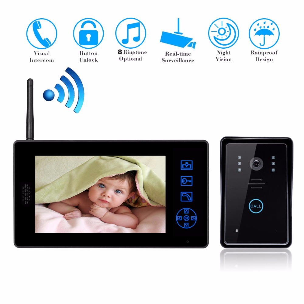 7 TFT Door Monitor Video Intercom Home Door Phone Recorder System Supported Doorbell Camera Intercom Kit Waterproof Rain Cover