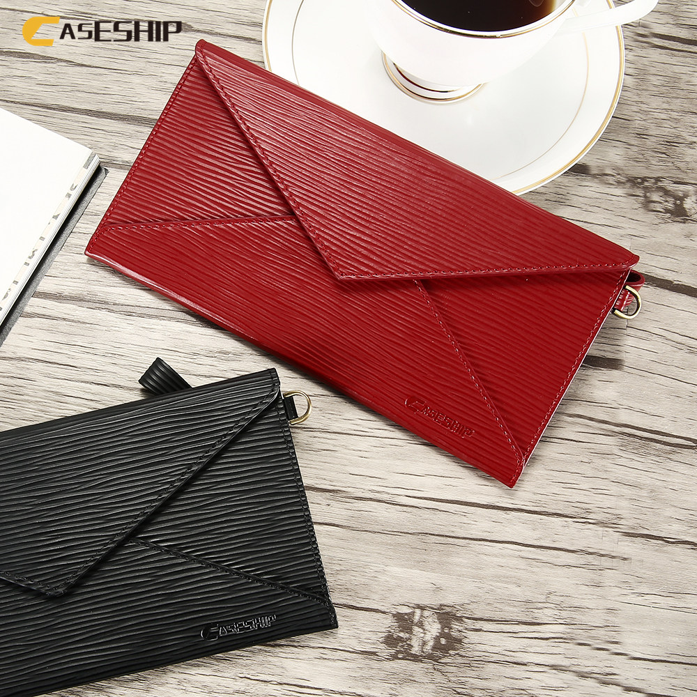 CASESHIP Elegant Genuine Leather Phone Case For iPhone 6 6S 7 8 Plus X Cases Luxury Envelope Style Phone Cover For Samsung S8 S9