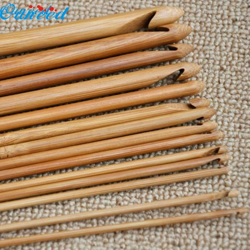 Ouneed Happy Home 12 Size Bamboo Handle Crochet Hook Knit Weave Yarn Craft Knitting Needles 1 Piece 104pcs sewing craft steel knitting tool sets knitting needles straight circular knitting needles crochet hook