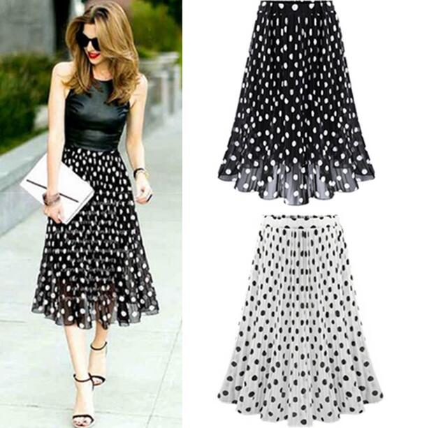6abc3626d4 2019 Summer Spring Women Chiffon Polka Dot Skirt Female Black dots Elastic  Waist Pleated Skirt Beach A-Line Plus Size DF210
