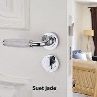 Modern fashion Mechanical mute split indoor wooden door lock silver black Emerald Suet jade bedroom bookroom door handle lock