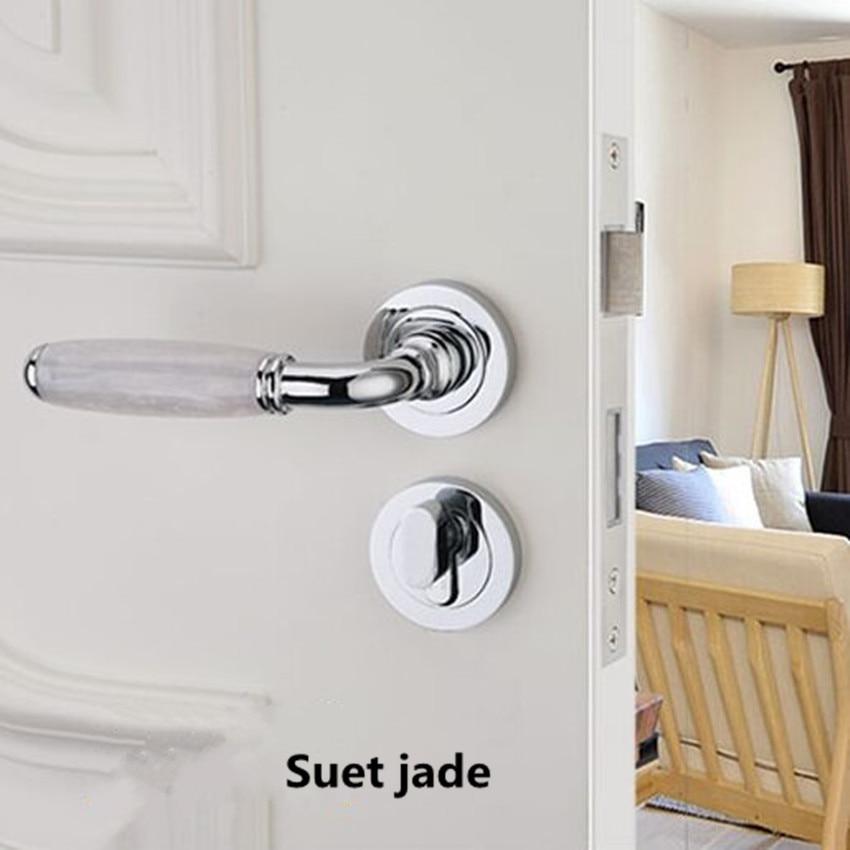 Modern fashion Mechanical mute split indoor wooden door lock silver black Emerald Suet jade bedroom bookroom handle