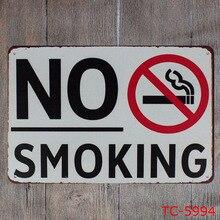 Platos de Metal de advertencia de decoración de Bar Vintage Metal lata con letrero para Bar cafetería tienda No fumar restaurante placa con indicaciones de Metal