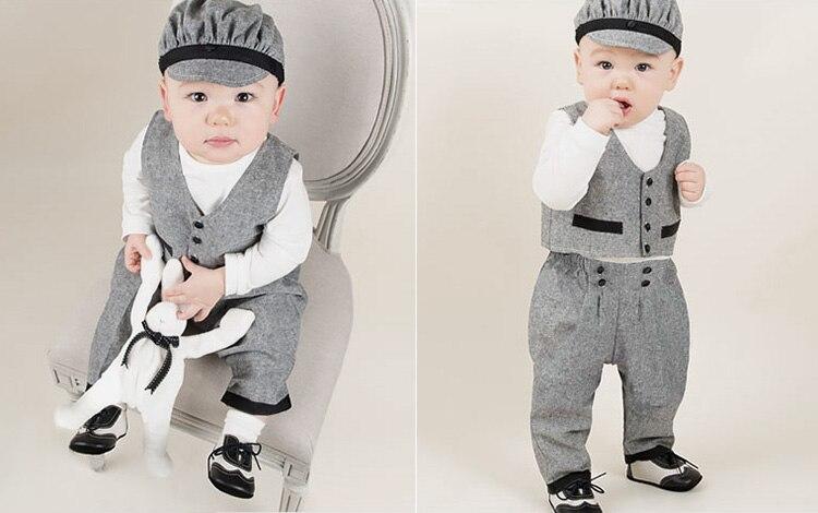 8f39d9c441d6 Battesimo abiti per ragazzi gentleman baby boy di compleanno dei capretti  del vestito primavera manica lunga shirt + vest + pants set di bouquet 3 pz  in ...