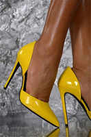 High Quality Women Fashion Yellow Patent Leather Pointed Toe Stiletto Heel Pumps Slip-on Sexy High Heels Dress Shoes