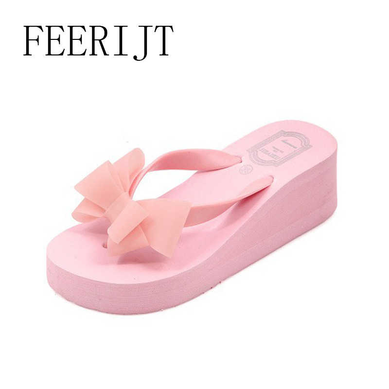 ea43d9a84bb Women Fashion Outdoor Slippers Casual Beach Bowie Tie Ladies High Heel Flip  Flops 2018 Summer Women Wedges Slipper Shoes 028